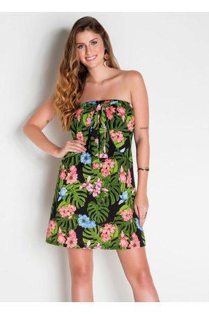 QUEIMA ESTOQUE Mulher Vestido Estampado - Vestido Tomara que Caia com Amarração Floral