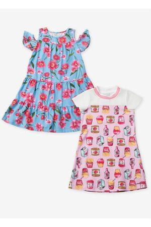 Momi Menina Vestido Estampado - Kit de Vestidos Estampado e Rosa