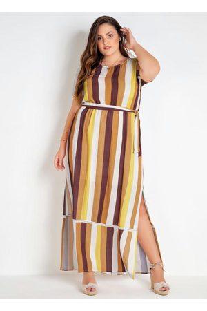 Mink Mulher Vestido Estampado - Vestido Marrom Longo Estampado Listras Verticais