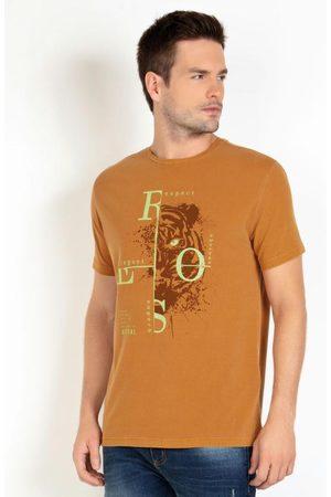 QUEIMA ESTOQUE Homem Manga Curta - Camiseta Mostarda Estampa Tigre