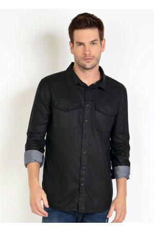 Actual Homem Camisa Casual - Camisa Sarja Preta com Bolsos e Botões
