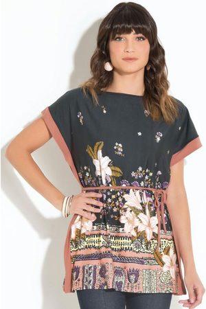 QUINTESS Mulher Bata & Túnica - Bata Floral com Amarração na Cintura