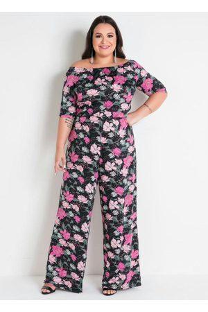 Marguerite Mulher Macacão - Macacão Floral Ciganinha Pantalona Plus Size