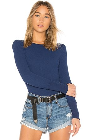 Bobi Mulher Camisa Manga Comprida - Long Sleeve Thermal Tee in Blue. - size L (also in M, S, XS)