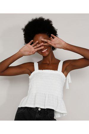 Clockhouse Mulher Regata - Regata Feminina Texturizada com Lastex Alça Laço Decote Reto Off White