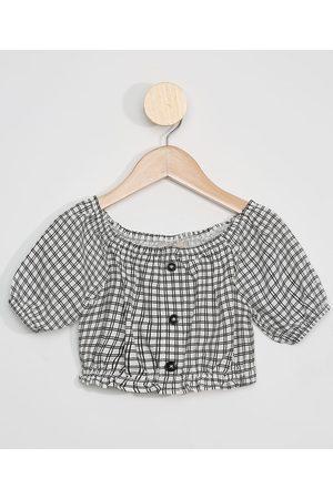 PALOMINO Blusa Cropped Infantil Estampada Xadrez Manga Bufante com Botões Branca