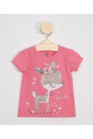 BABY CLUB Blusa Infantil Cervo com Glitter Manga Curta Pink