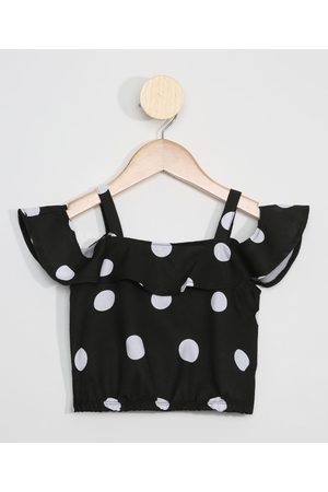 PALOMINO Blusa Cropped Infantil Estampada Poá Open Shoulder Manga Curta Preto