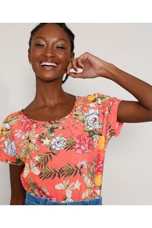 YESSICA Camiseta Feminina Estampada Floral Manga Curta Decote Redondo Rosa
