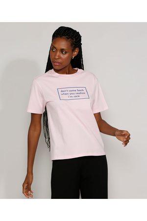 "Mindse7 T-Shirt Feminina Mindset Don't Come Back"" Manga Curta Decote Redondo Claro"""
