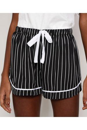 Design Íntimo Short de Pijama Feminino Listrado com Vivo Contrastante e Laço Preto