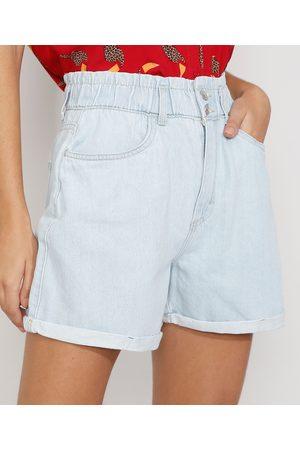 YESSICA Mulher Short - Short Jeans Feminino Mom Clochard Cintura Super Alta com Barra Dobrada Claro