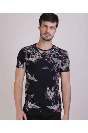 AL Contemporâneo Camiseta Masculina Slim Estampada de Pássaros Manga Curta Gola Careca Preta