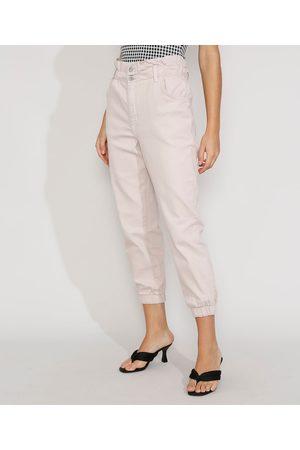 Clockhouse Mulher Calça de Alfataria - Calça de Sarja Feminina Jogger Mom Cintura Super Alta Off White