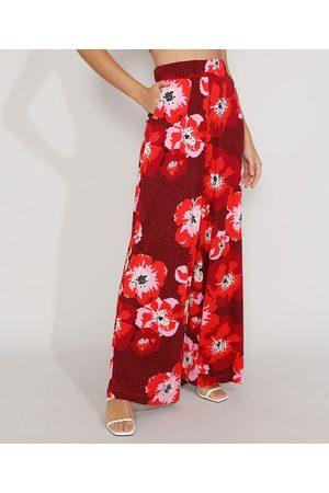 YESSICA Calça Feminina Pantalona Cintura Super Alta Estampada Floral com Bolsos Vermelha Escuro