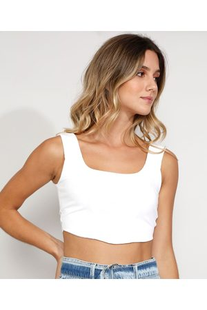 Clockhouse Top Cropped Feminino Corset Canelado Alça Larga Decote Reto Off White