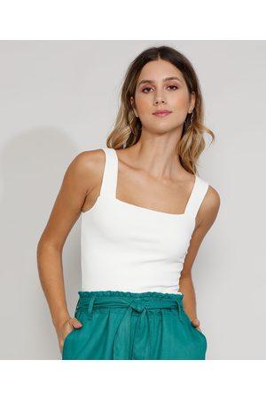 Basics Mulher Blusas tipo Regata - Regata Feminina Básica Canelada Alça Larga Decote Reto Branca