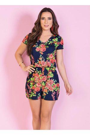 Moda Pop Mulher Cinto - Macaquinho Floral com Elástico na Cintura