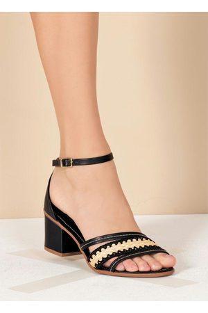 Perfecta Sandália Preta Salto Quadrado
