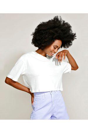Mindse7 T-Shirt Feminina Mindset Oversized Cropped Manga Curta Decote Redondo Off White