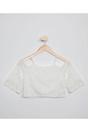Miss Fifteen Blusa de Renda Juvenil Cropped Open Shoulder Manga 3/4 Branca