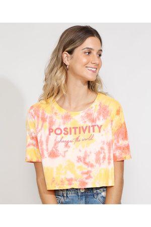 "Clockhouse Camiseta Feminina Estampada Tie Dye Manga Curta Cropped Ampla Positivity"" Decote Redondo Multicor"""