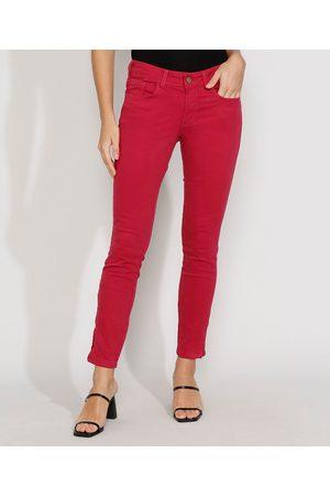 YESSICA Calça de Sarja Feminina Super Skinny Pull Up Cintura Média com Zíper na Barra Vermelha