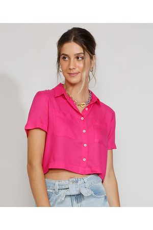 Clockhouse Camisa Feminina Manga Curta Cropped Ampla com Bolsos Pink