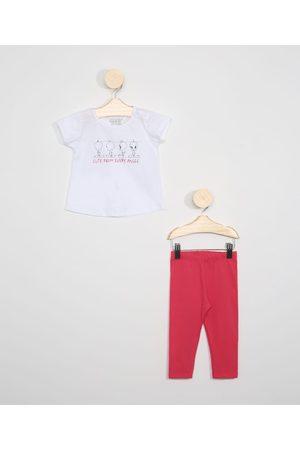 Warner Bros Conjunto Infantil de Blusa Piu-Piu Manga Curta Off White + Calça Legging Pink