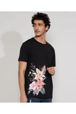 Clock House Camiseta Masculina Manga Curta Gola Careca com Estampa Floral Preta