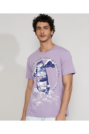 Suncoast Camiseta Masculina Manga Curta Gola Careca Veleiro Lilás