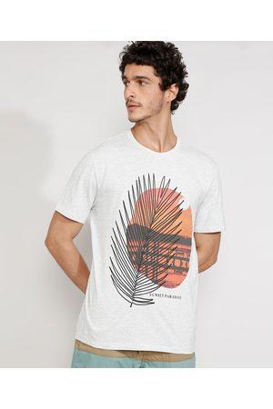"""Suncoast Camiseta Masculina Manga Curta Gola Careca Folha Sunset Paradise"""" Mescla Claro"""""""