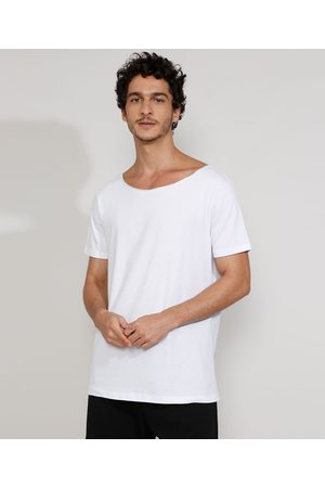 Basics Homem Manga Curta - Camiseta Masculina Manga Curta Básica Longa Gola Canoa Branca