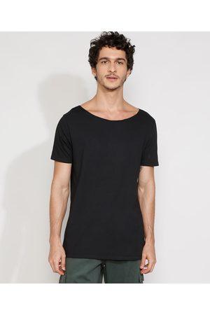 Basics Camiseta Masculina Manga Curta Básica Longa Gola Canoa Preta