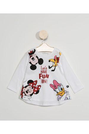 Disney Menina Manga Longa - Blusa Manga Longa Infantil Turma do Mickey com Glitter Off White