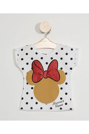 Disney Blusa Infantil Manga Curta Minnie com Glitter Off White