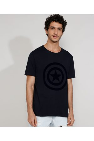 Marvel Camiseta Masculina Manga Curta Gola Careca Capitão América Flocada Escuro