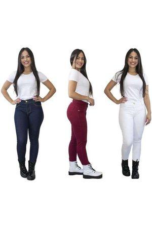 Luma Ventura Kit 3 Calças Jeans Skinny Cós Alto Escuro e B