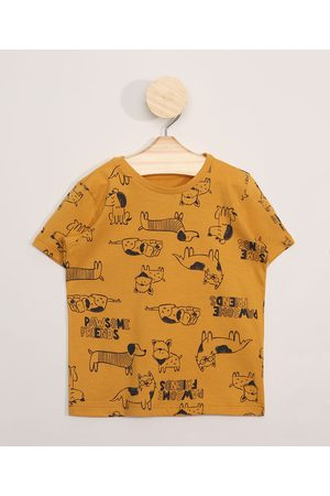 BABY CLUB Camiseta Infantil Estampada Manga Curta de Cachorrinho Amarela