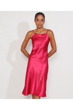 Clockhouse Vestido Slip Dress Feminino Midi Acetinado com Fenda Alça Fina Pink