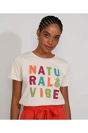 """YESSICA Mulher Camiseta - Camiseta Feminina Manga Curta Natural Vibe"""" Decote Redondo Claro"""""""