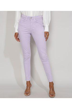 Clockhouse Mulher Calça de Alfataria - Calça de Sarja Feminina Super Skinny Cintura Alta Lilás