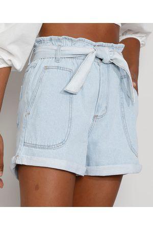 SAWARY Mulher Short - Short Jeans Feminino Clochard Cintura Super Alta com Faixa para Amarrar Claro