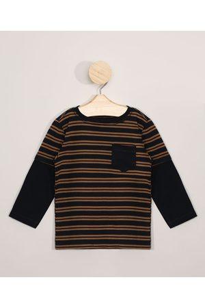 BABY CLUB Camiseta Infantil Manga Longa Sobreposição Listrada com Bolso Azul Marinho