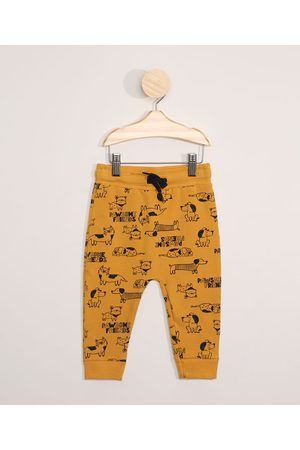 BABY CLUB Menino Moletom - Calça de Moletom Infantil Estampada Cachorrinhos Amarela