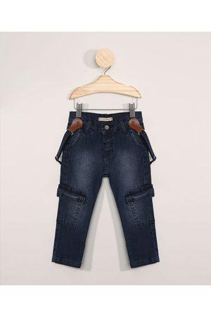 BABY CLUB Calça Jeans Infantil Cargo com Suspensório Médio