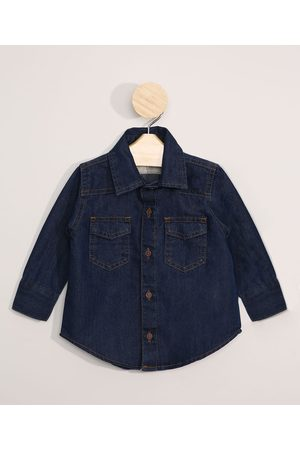 BABY CLUB Menino Camisa Jeans - Camisa Jeans Infantil Manga Longa Escuro