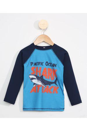 PALOMINO Menino Moda Praia - Blusa de Praia Infantil Raglan Manga Longa Tubarão com Proteção UV50+