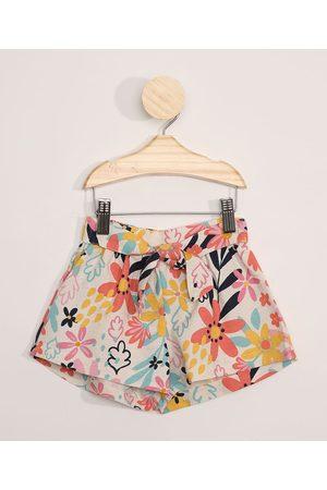 BABY CLUB Short Infantil Clochard Floral Off White