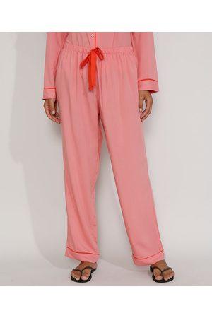 Design Íntimo Mulher Pijamas - Calça de Pijama Feminina com Vivo Contrastante e Laço